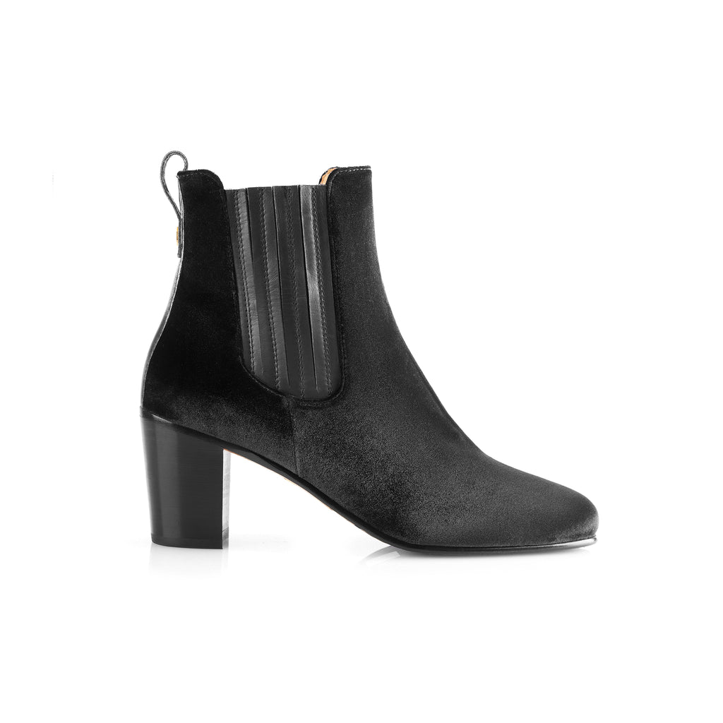 The Electra Boot Black Velvet Fairfax and Favor