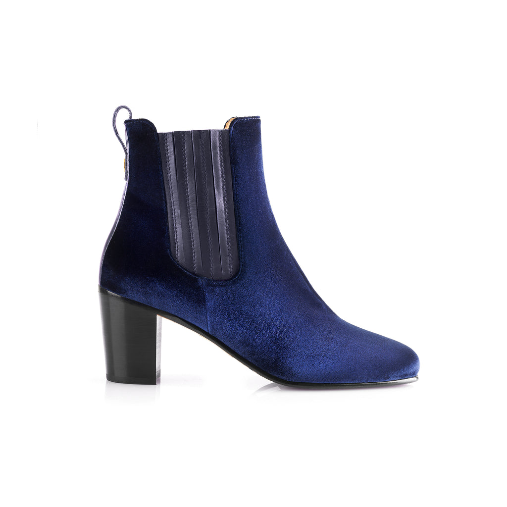 The Electra Boot Royal Blue Velvet Fairfax and Favor