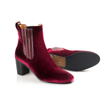 The Electra Boot Burgundy Velvet Fairfax and Favor 3