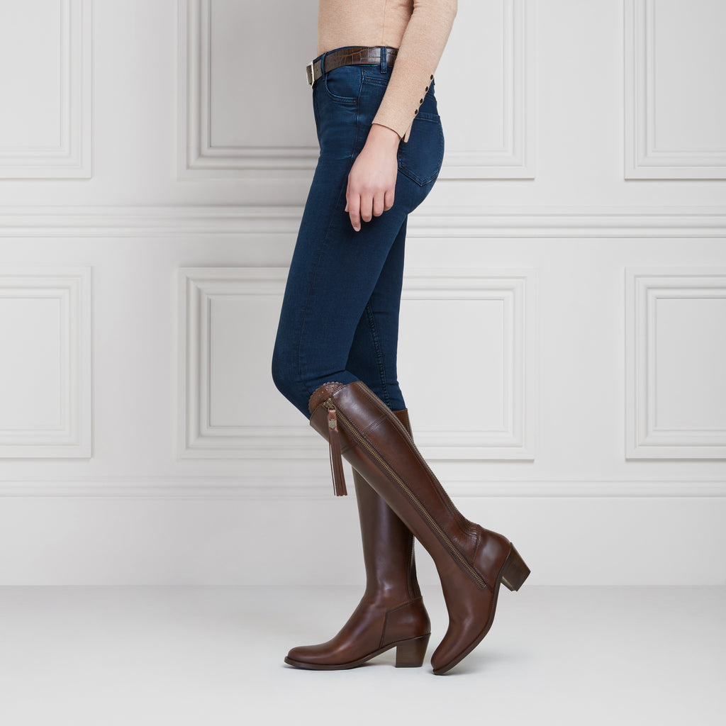 The Heeled Regina (Mahogany Leather) - Leather Boot