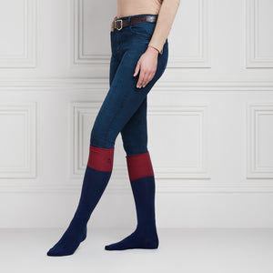 The Signature Ladies Knee High Socks - Navy & Burgundy