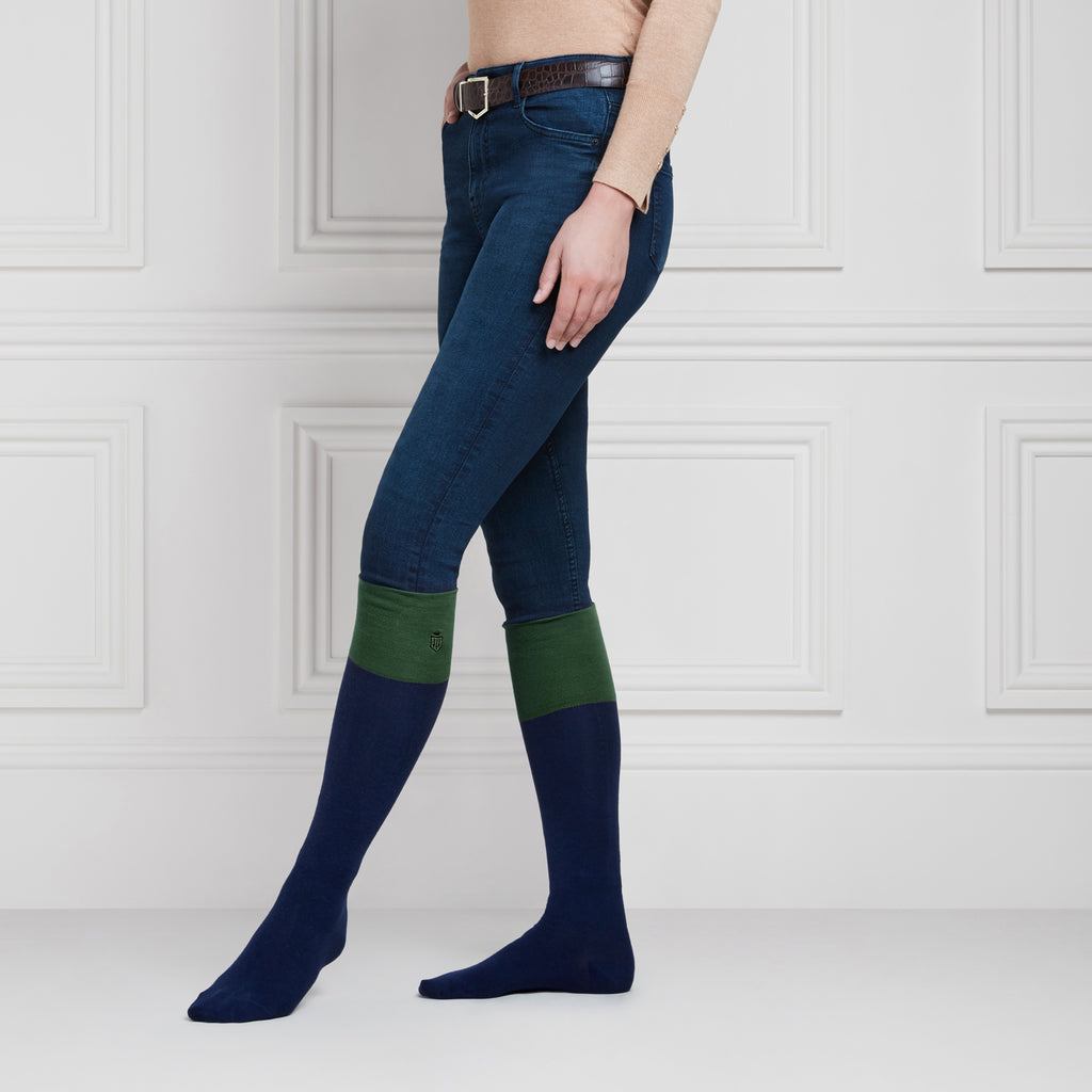 The Signature Knee High Socks - Navy & Forest Green