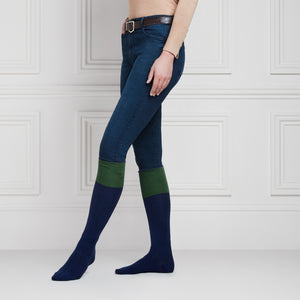 The Signature Ladies Knee High Socks - Navy & Forest Green