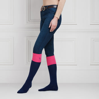 The Signature Knee High Socks - Navy & Hot Pink