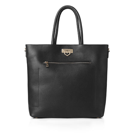 Loxley Tote Bag - Black Leather - HANDBAGS - Fairfax & Favor