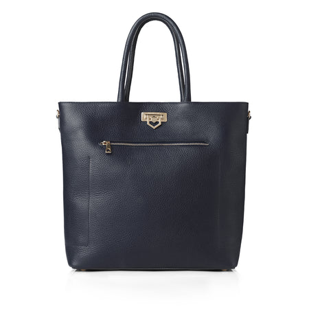Loxley Tote Bag - Navy Leather - HANDBAGS - Fairfax & Favor