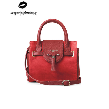 The Mini Windsor Handbag - Red - By Amynevfashiondiaries - Embossing - Fairfax & Favor