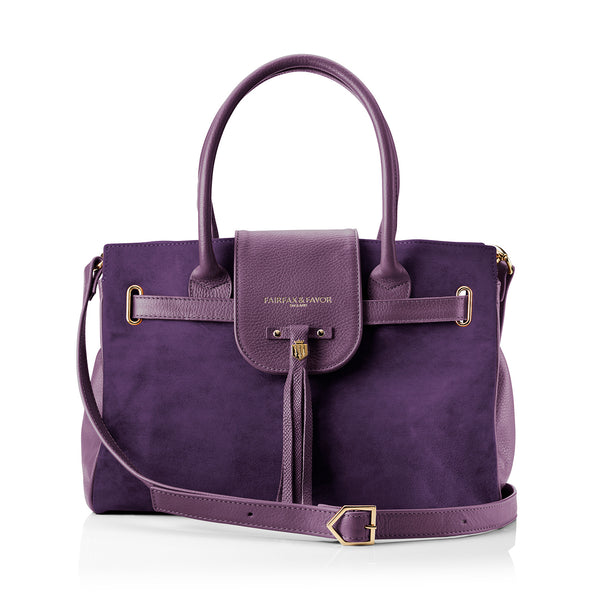 The Windsor Handbag Purple - Embossing - Fairfax & Favor