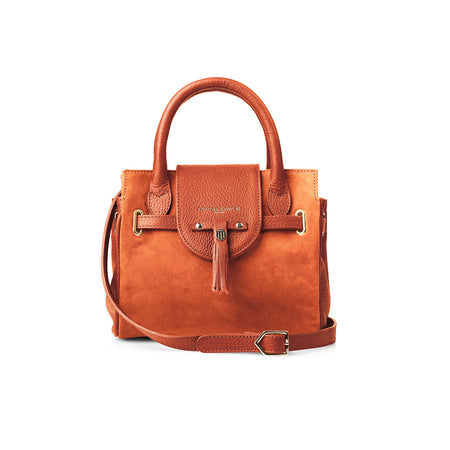 The Mini Windsor Handbag - Tangerine - Embossing - Fairfax & Favor