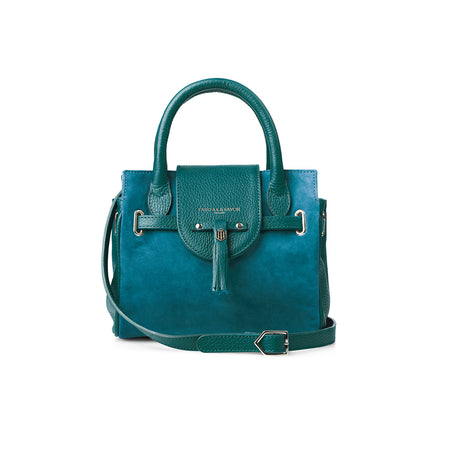 The Mini Windsor Handbag - Teal - Embossing - Fairfax & Favor