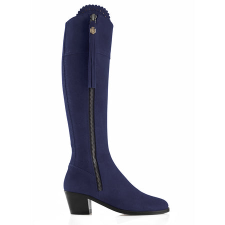 The Heeled Regina (Royal Blue) - Suede Boot - Ladies: A Day at the Races - Fairfax & Favor
