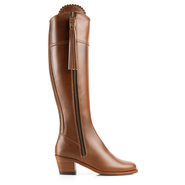 The Heeled Regina (Tan Leather) - Leather Boot - Race Day Ready - Fairfax & Favor