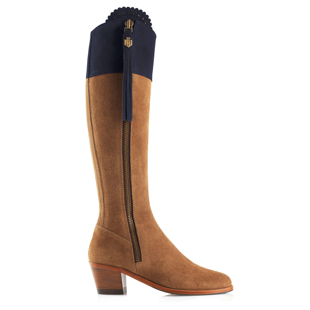 The Heeled Limited Edition Regina (Tan & Navy) - Suede Boot