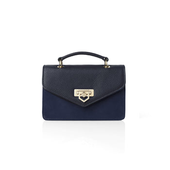 The Loxley Mini Cross Body Bag - Navy Suede