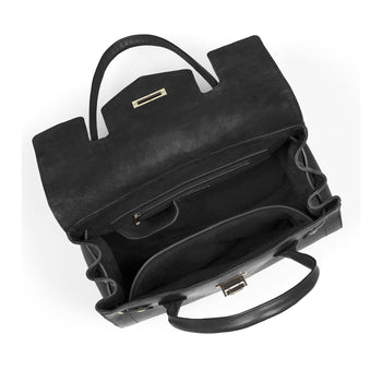 The Loxley Shoulder Bag - Black Suede
