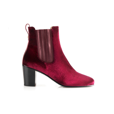 The Electra Boot - Burgundy Velvet - New Arrivals - Fairfax & Favor