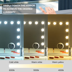 Sleek Frameless Hollywood LED Mirror with Speakers