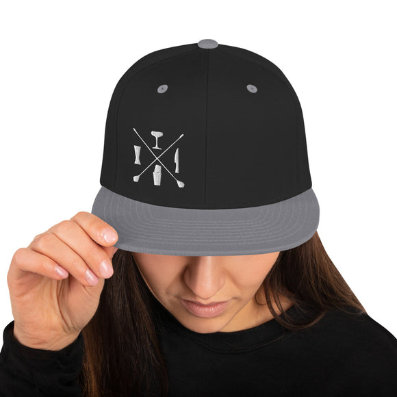Tools of the Trade Cross logo Snapback Hat Silver, Black and White embroider