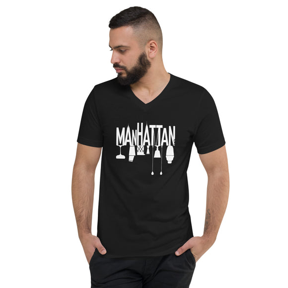 Manhattan Skyline Cocktail Scene Unisex Short Sleeve V-Neck T-Shirt