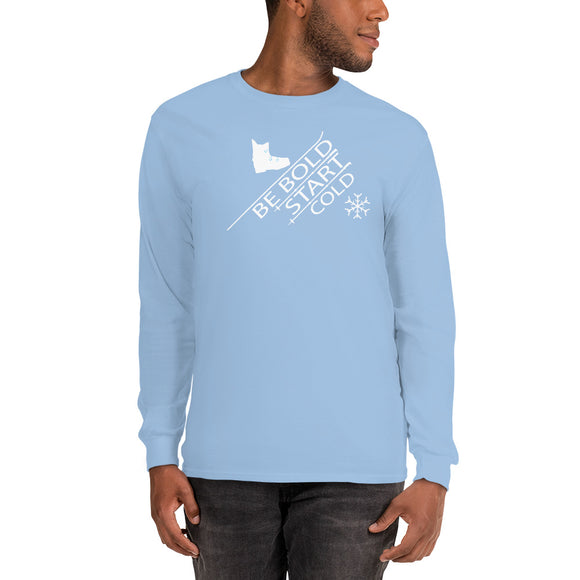 Be Bold Start Cold uphill snowflake Men's Long Sleeve Shirt