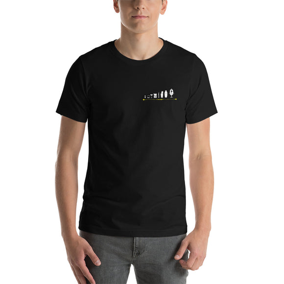 Short-Sleeve Unisex T-Shirt Bartool line up with gold decal pocket size