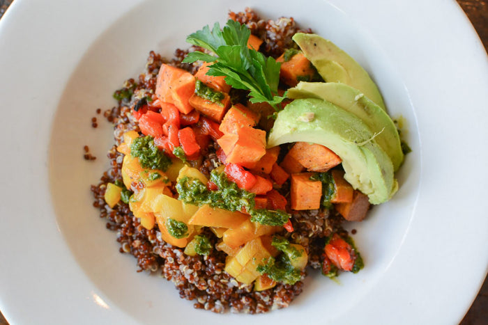 Red Quinoa Bowl with Roasted Vegetables and Chimichurri