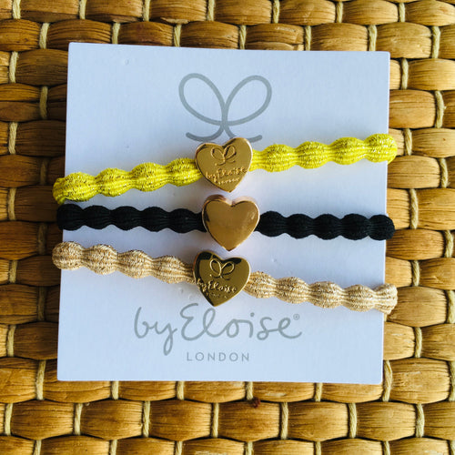 Bangle Bands - lot de 3 : jaune metallic, beige metallic et noir cœur doré