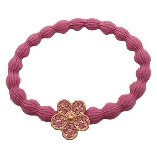 Elastique cheveux rose fuscia, accessoire cheveux, elastique chouchou, invisibobble, queue de cheval, natte, hairstyle, coiffure, barrette, fleur dorée strass