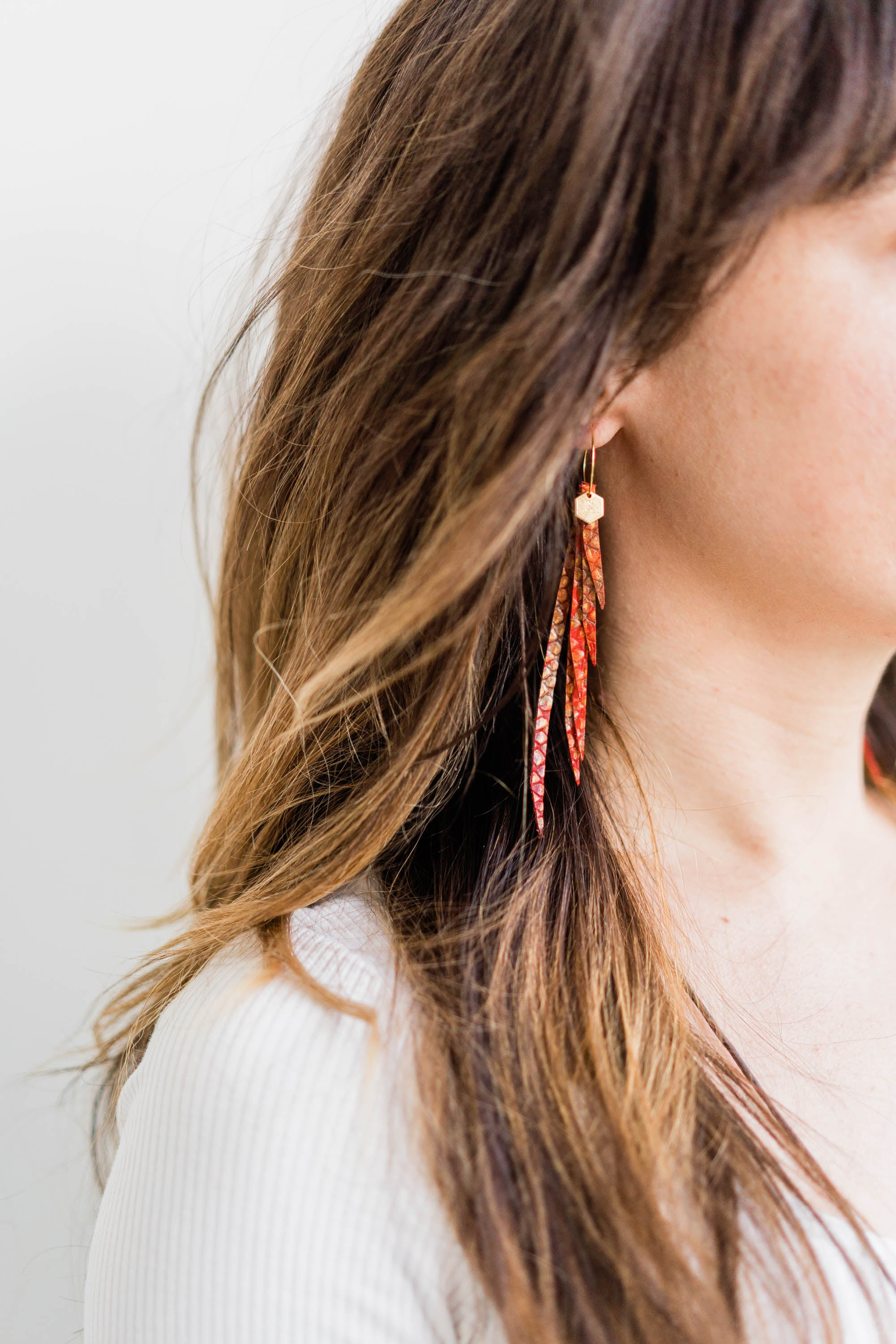 "The ""Sterling Cooper"" Layered Leather Earring Collection"