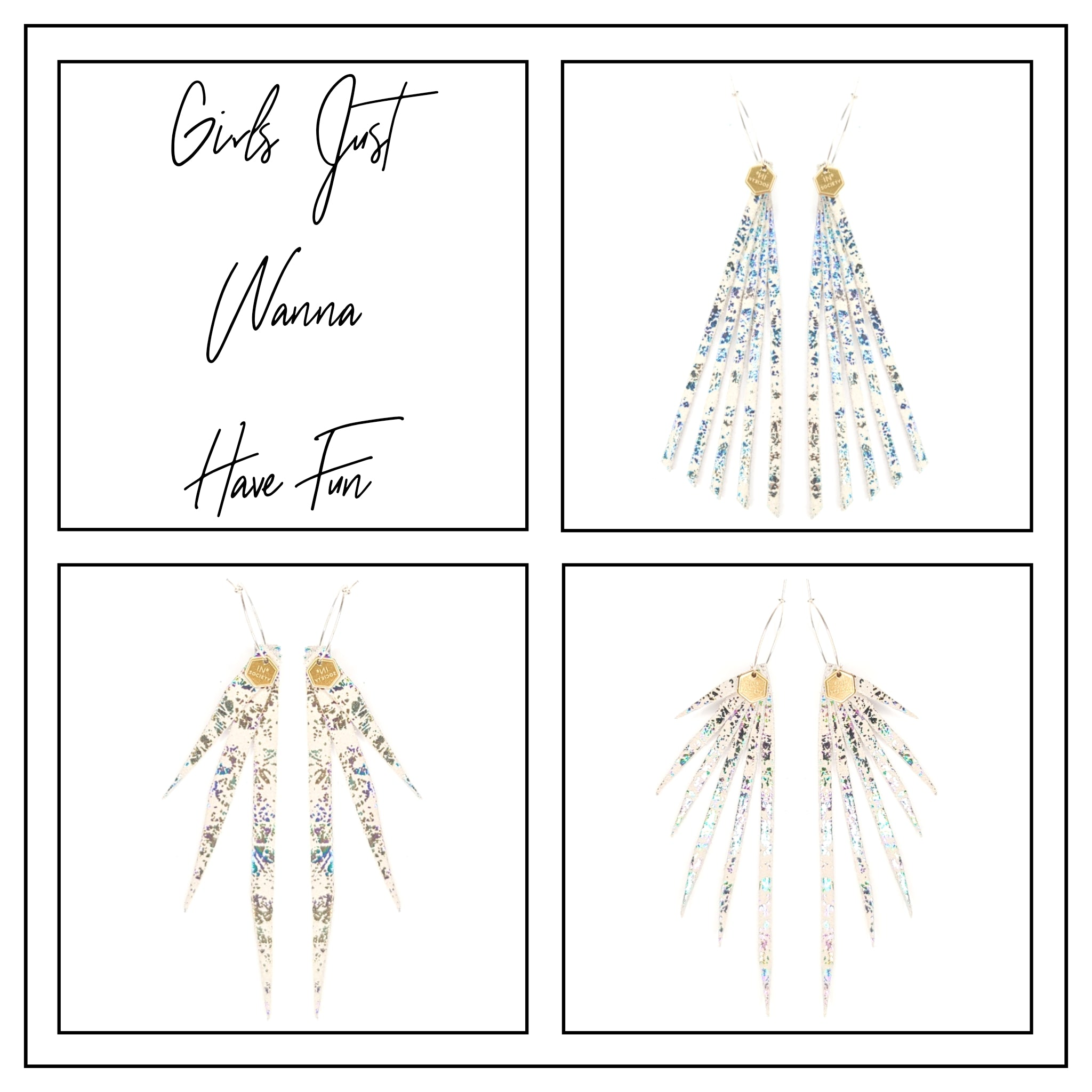 New! Girls Just Wanna Have Fun Metallic Leather Earrings Collection