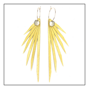 Open image in slideshow, NEW! Walking on Sunshine Series- Chartreuse Yellow Leather Earrings