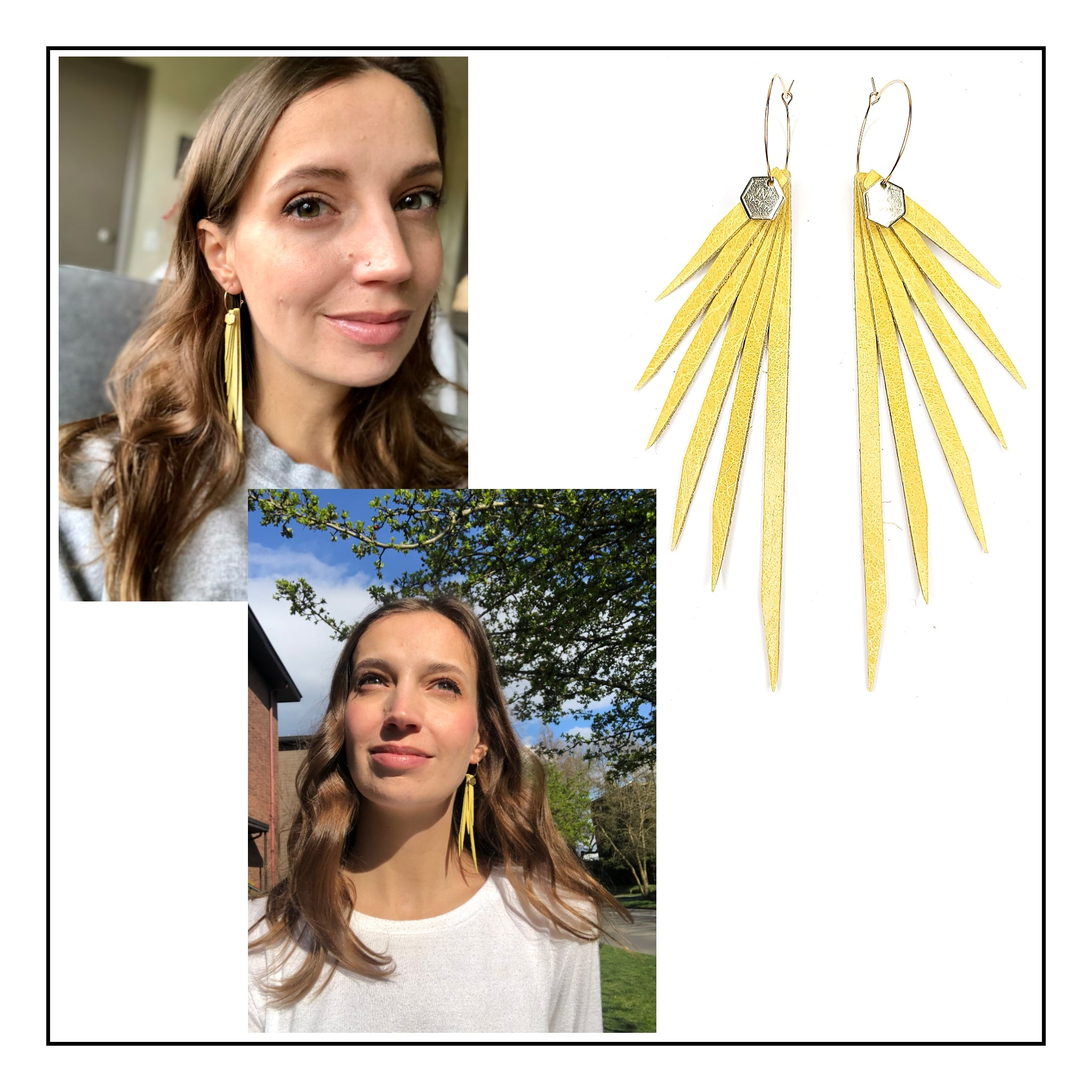 NEW! Walking on Sunshine Series- Chartreuse Yellow Leather Earrings