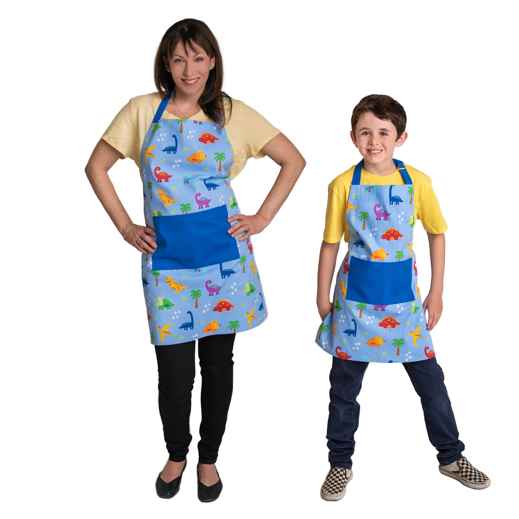 Dinosaur Print Adult and Child Cotton Cooking Apron Set