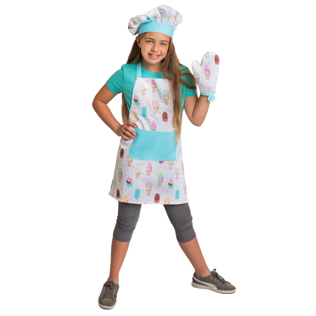 Kids Apron Set Ice Cream Print Apron Oven Mitt and Chef's Hat