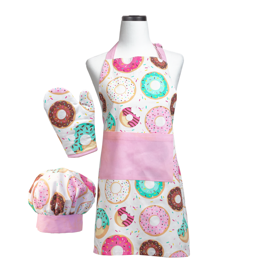 Donut Printed Kids Cooking Apron Chef Hat and Oven Mitt Set