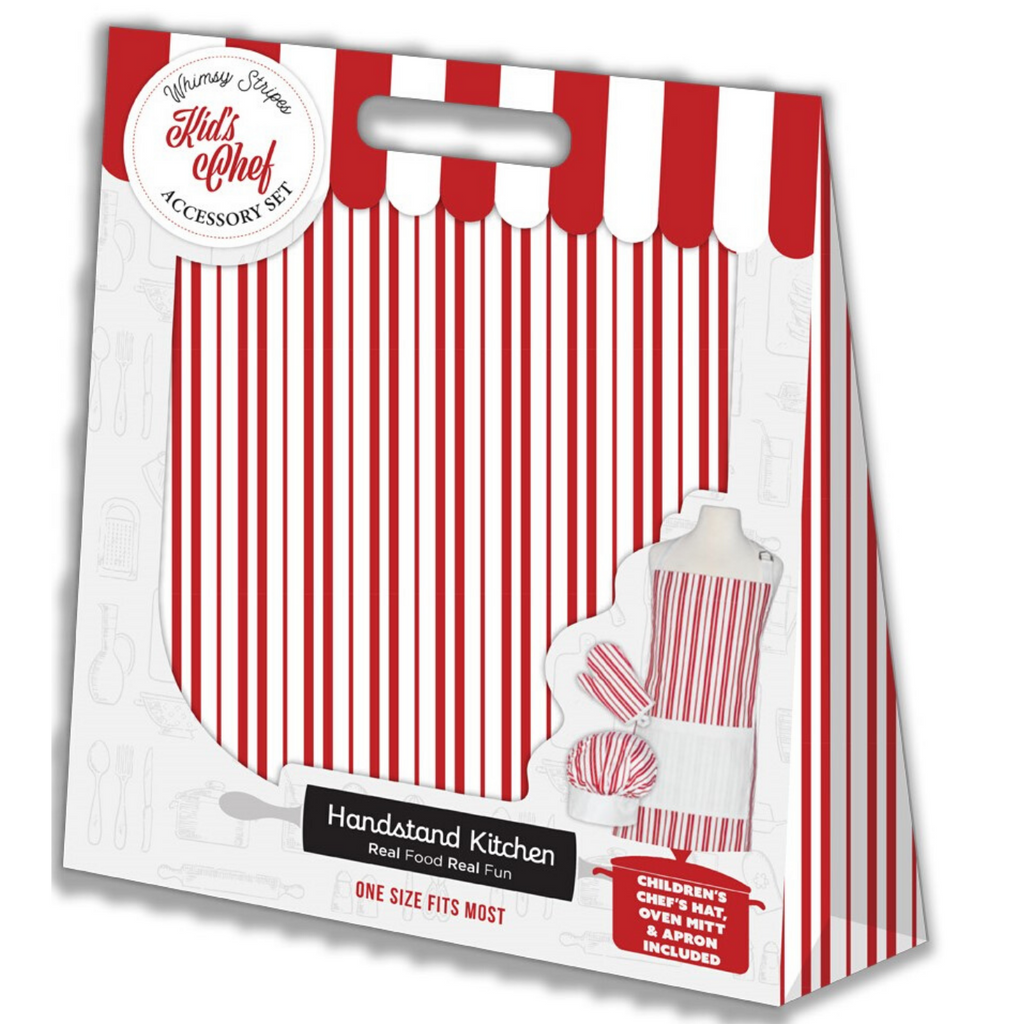 Child Size Red White Striped Apron Chef Hat and Oven Mitt Cooking Set