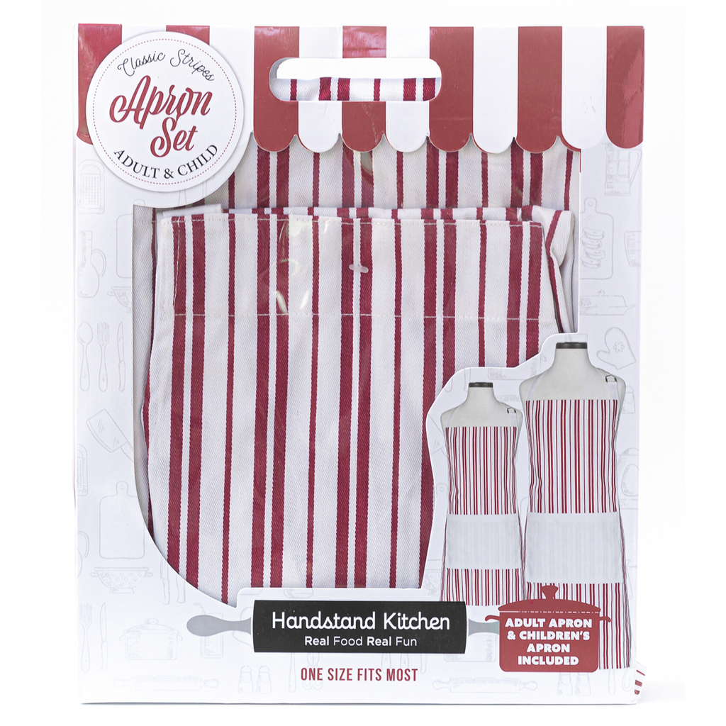 Classic Red and White Striped Adult and Child Matching Apron Set