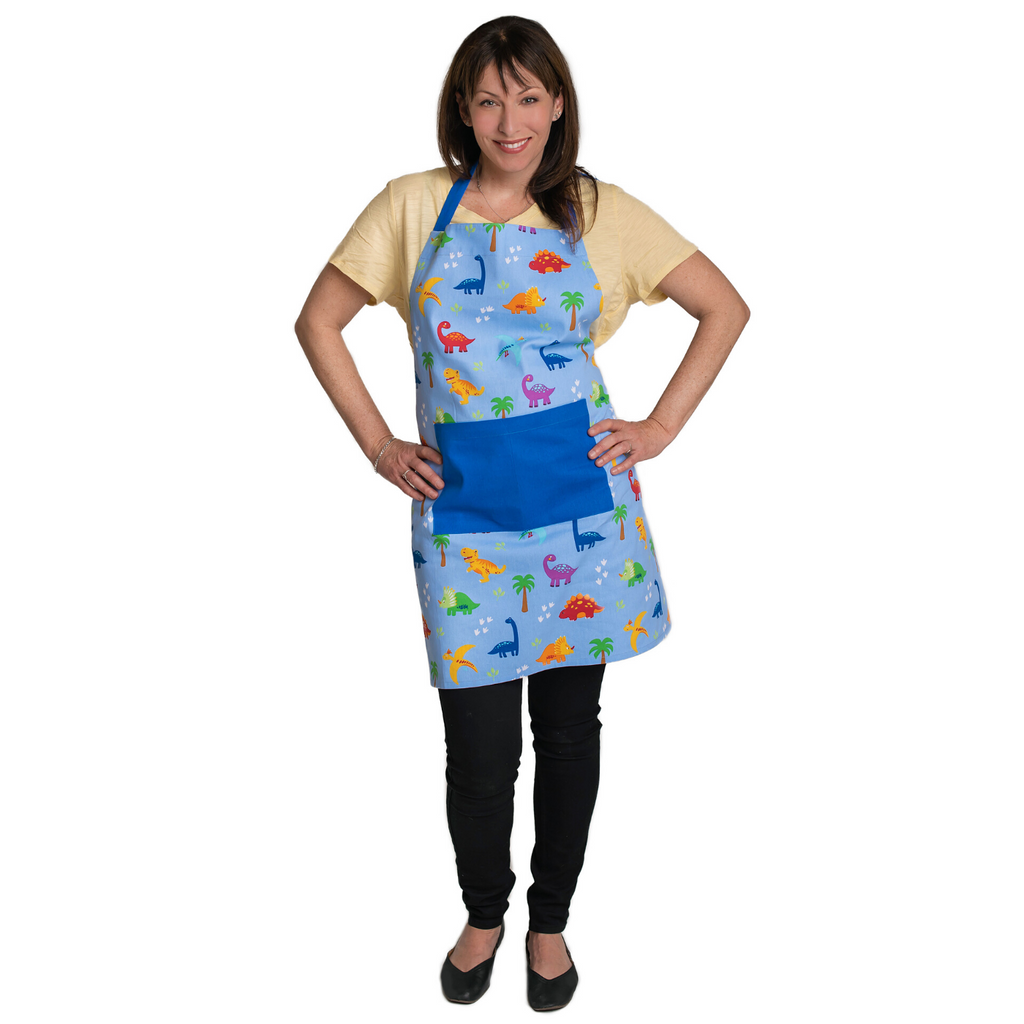 Blue Dinosaur Print Adult Cooking Apron