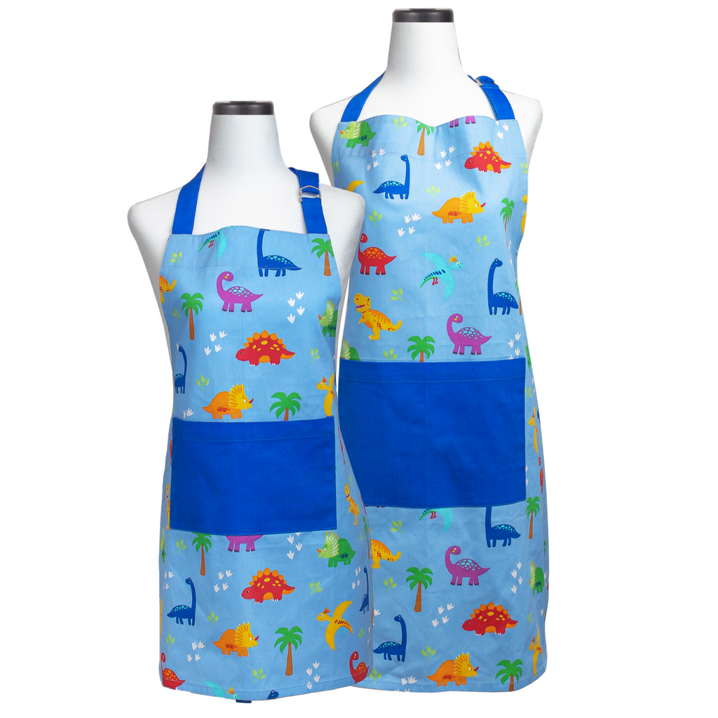 Blue Dinosaur Print Adult and Child Matching Apron Set