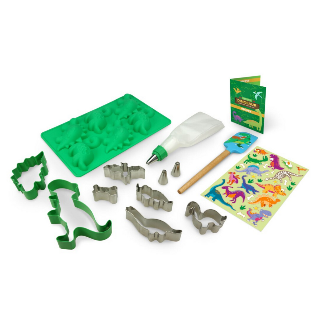 Kids Dinosaur Ultimate Baking Set Silicone Cupcake Mold and Cookie Cutters