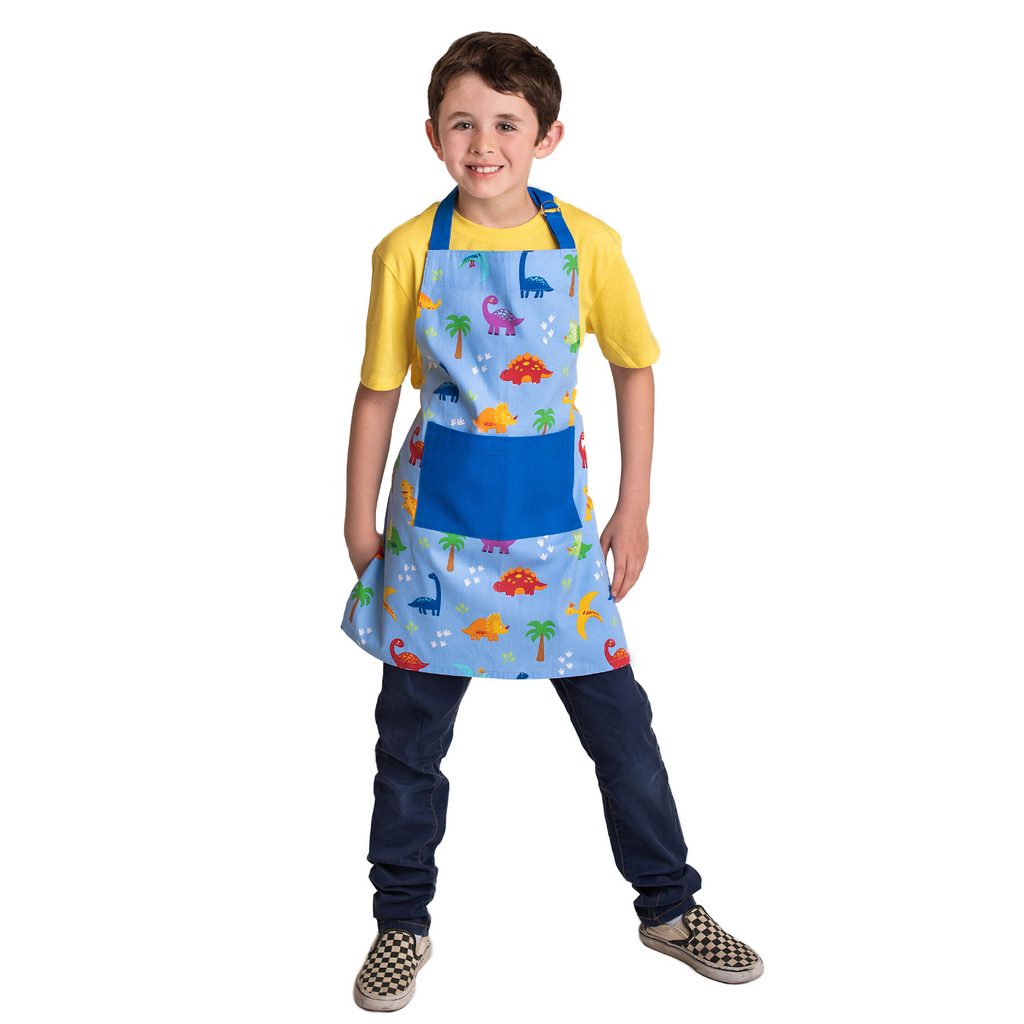 Kids Blue Cooking Apron Dinosaur Print