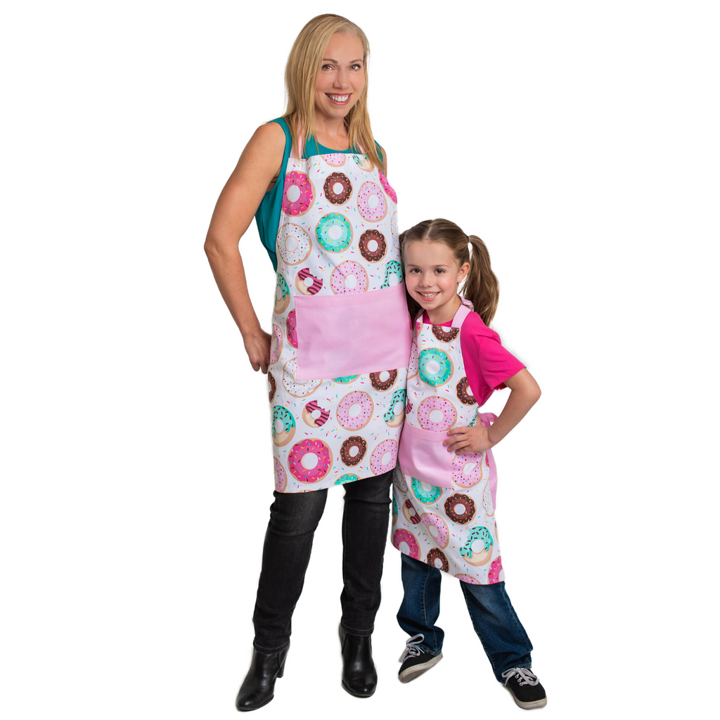 Donut Print Adult and Kid Matching Apron Set