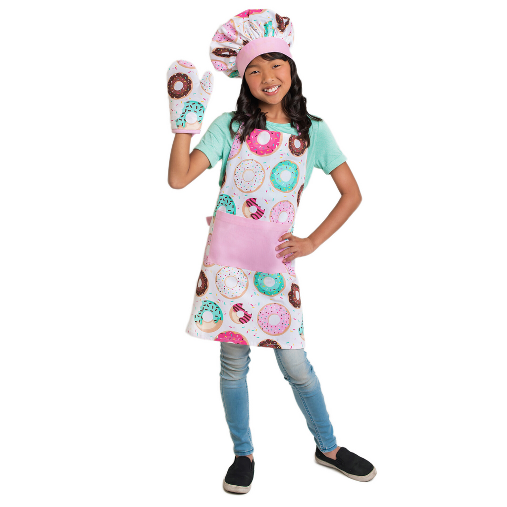 Kids Donut Apron Set with Oven Mitt and Chef Hat