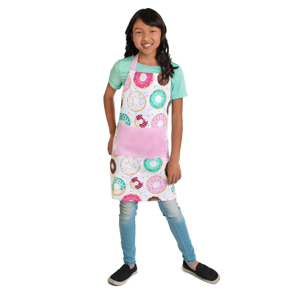 Kids Cotton Apron Donut Print