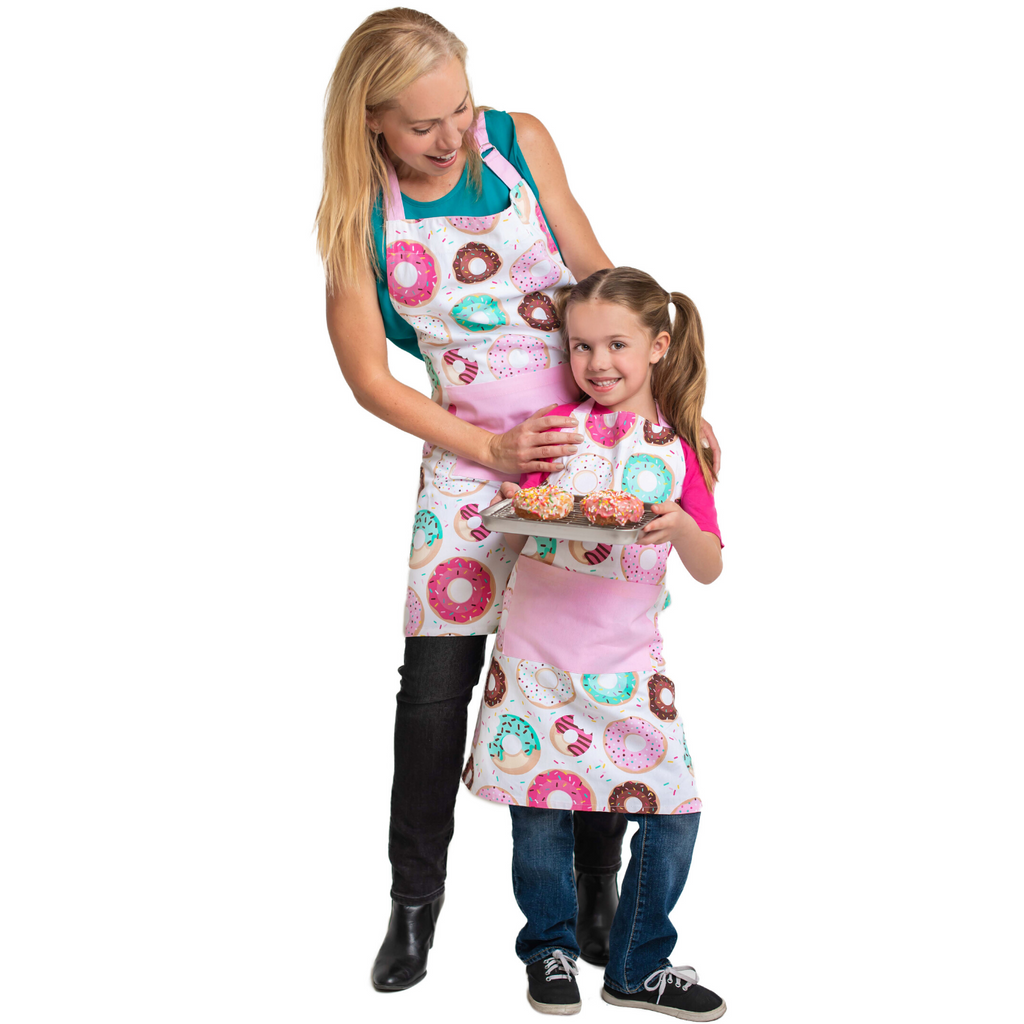 Adult and Child Donut Printed Cotton Apron Set