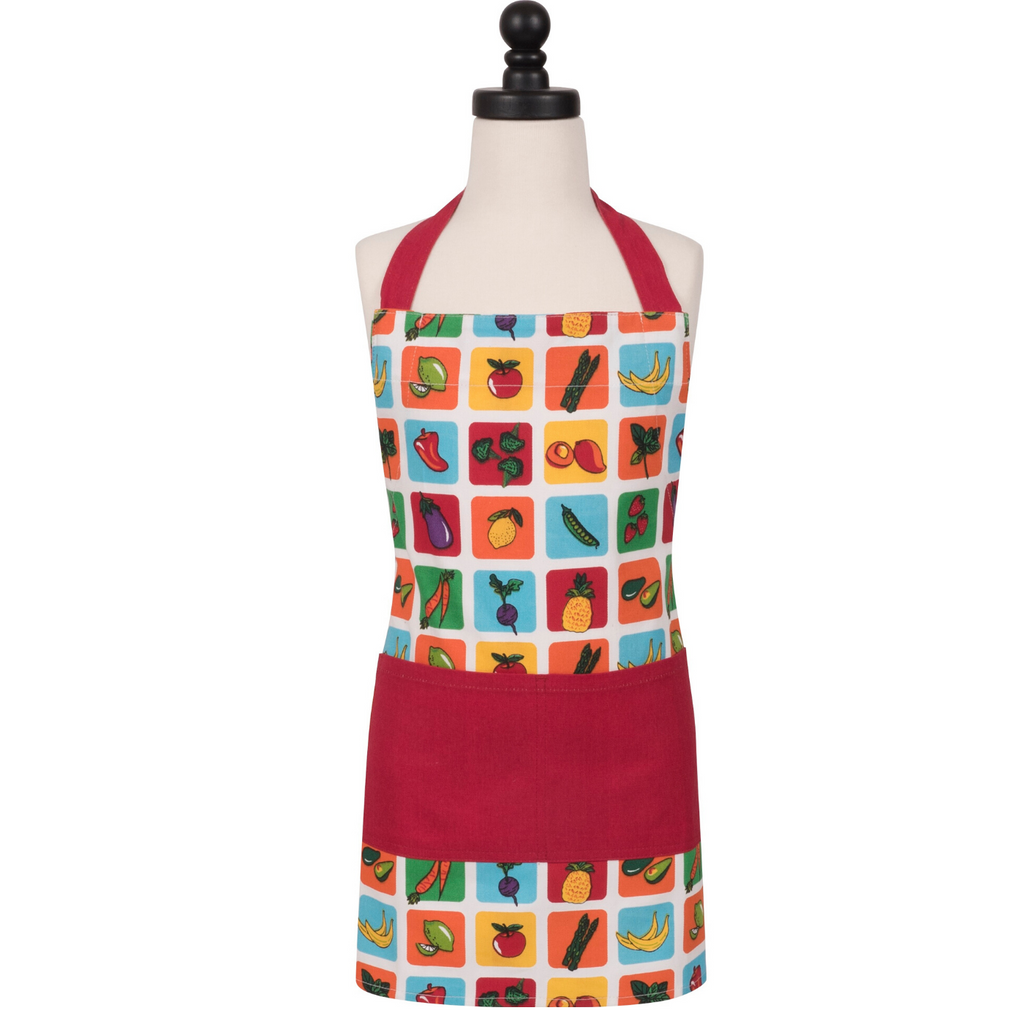Farmers Market Fruits and Vegetable Print Red Kids Cooking Apron