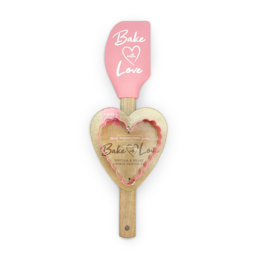 Bake With Love Spatula and Heart Cookie Cutter Set