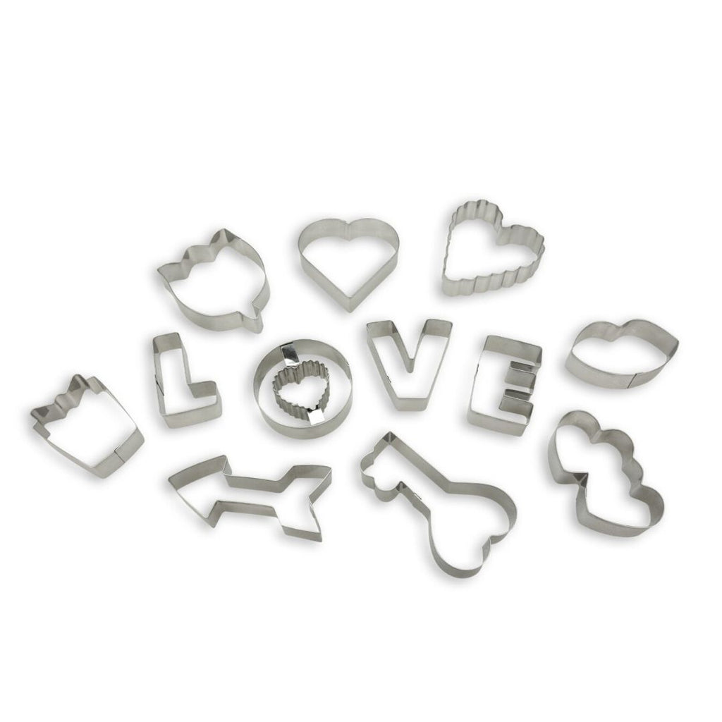 Bake With Love Heart 12pc Cookie Cutter Set