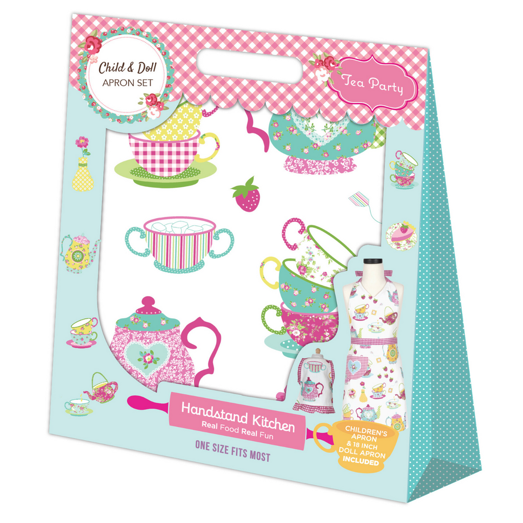 Tea Party Pink Printed Kid and Doll Matching Apron Set
