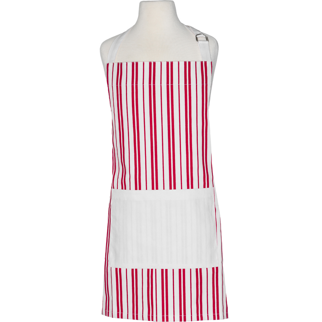 Red and White Striped Adult Apron